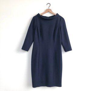 Talbots • 3/4 Sleeve Folded Neck Sheath Dress Navy